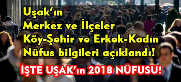 2018 itibariyle açıklanan Uşak'ın yeni nüfusu!