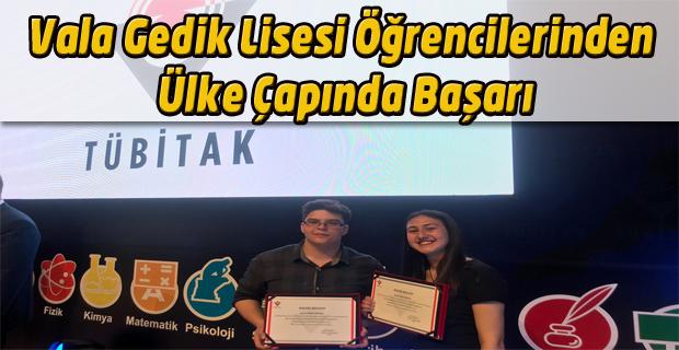 Vala Gedik Lisesi'nden iki öğrenci bu kez ülke çapında başarı elde etti