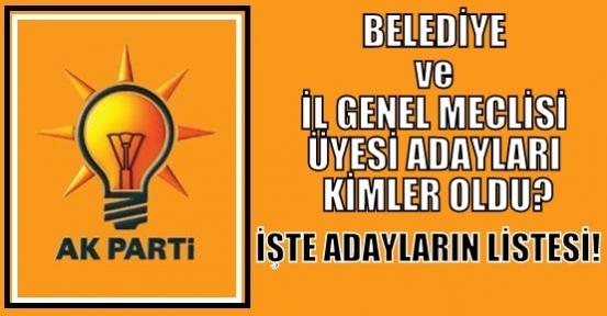Ak Parti'nin Belediye ve İl Genel Meclisi Üyesi Adayları Netleşti!