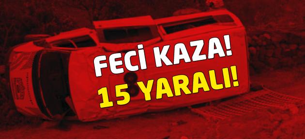 Ankara'da minibüs devrildi, 15 yaralı!