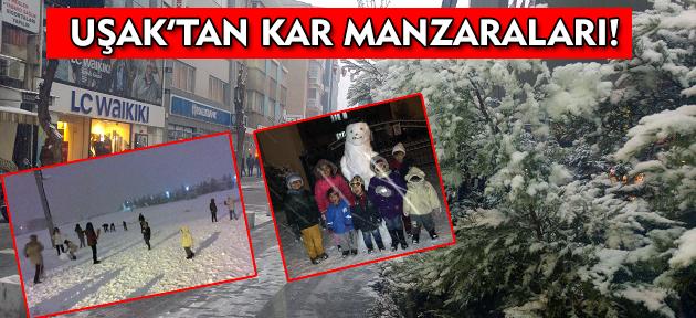 Kar Yağışı, Uşak'ta Renkli Görüntülere Sahne Oldu!