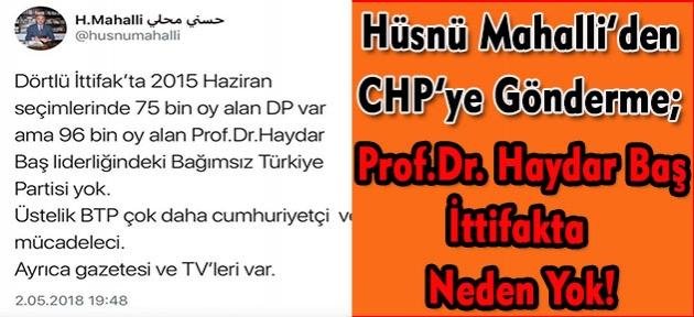 Ortadoğu Uzmanı Gazeteci Hüsnü Mahalli'den CHP ve İyi Partiye çok manidar Prof.Dr. Haydar Baş  sorusu