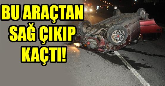 Otomobil, Orta Refüje Çarpıp Takla Attı!