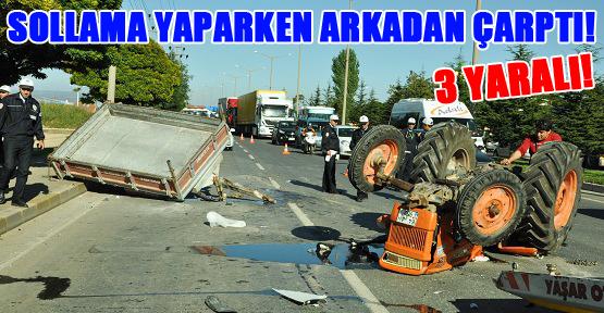 Otomobil Traktöre Çarptı! 3 Yaralı!