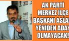 Mehmet Aslan Kongrede Aday Olmayacak!