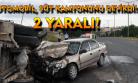 Otomobilin çarptığı süt kamyonu devrildi! 2 yaralı!