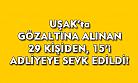 Uşak'ta gözaltına alınan 29 kişiden 15'i adliyeye sevk edildi!
