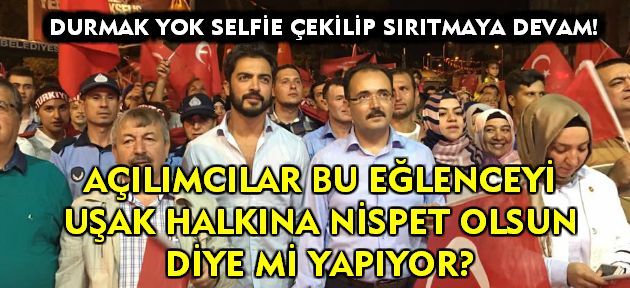 Uşak şehidine yasta; AKP'liler oyunda, oynaşta!