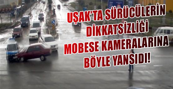 Uşak'ta Mobese (Güvenlik) Kameralarına Yansıyan İlginç Kaza Görüntüleri!