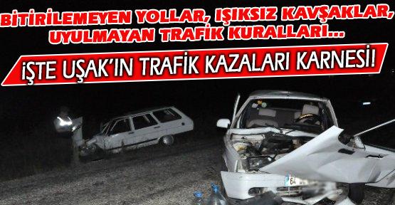 Uşak'ta Ölümlü ve Yaralamalı Trafik Kazaları %4.3 Arttı!