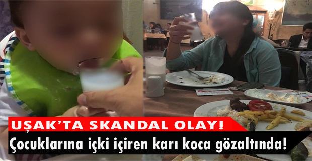 Uşak'ta çocuğa içki içiren çift, adliyeye sevk edildi