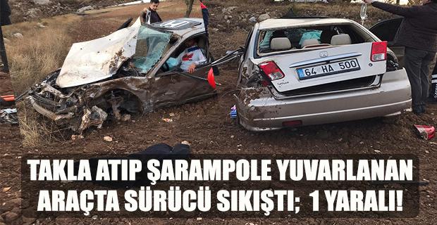 Uşak'ta takla atıp şarampole yuvarlanan araçta sürücü yaralandı!