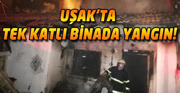 Uşak'ta ev yandı. Korku dolu anlar yaşandı!