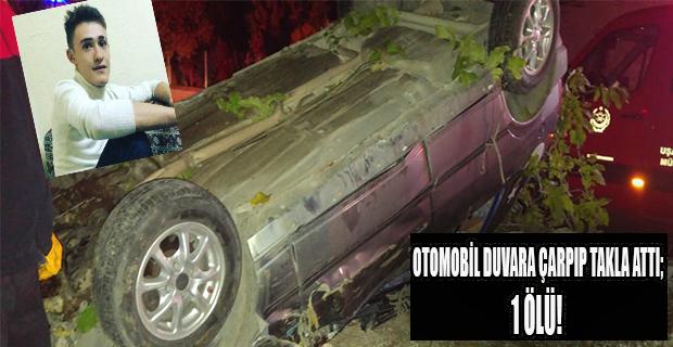 Bahçe duvarına çarparak takla atan otomobilde sürücü hayatını kaybetti