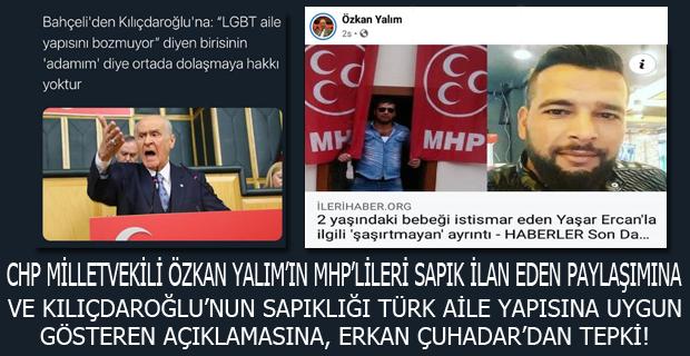 CHP Milletvekilli Özkan Yalım' ın MHP' lileri Sapık İlan Eden Paylaşımına ve Kılıçdaroğlu' nun Sapıklığı Türk aile Yapısına uygun gösteren Açıklamasına Erkan Çuhadar'dan Tepki!