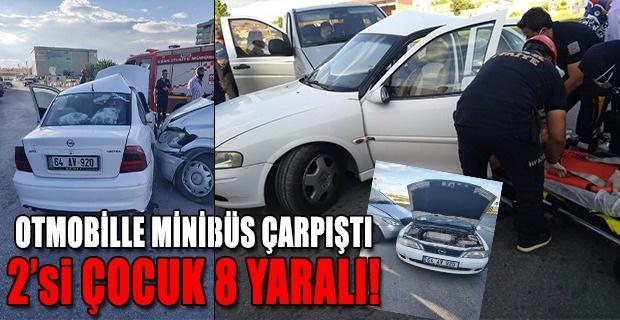 Ulubey Yolunda Minibüs ile Otomobil Çarpıştı 2 si çocuk 8 kişi yaralandı!