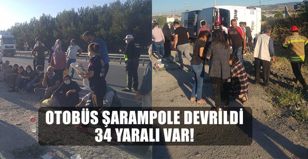 Göğem Kavşağında Otobüs Kaza Yaptı 34 Yaralı!