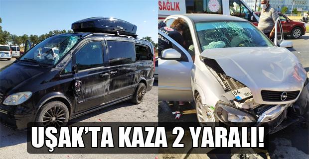 Minibüs ile otomobil çarpıştı; 2 Yaralı!