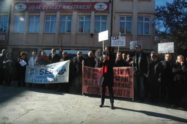 """Uşak Devlet Hastanesi Önünde """"CEO"""" Protestosu!"""