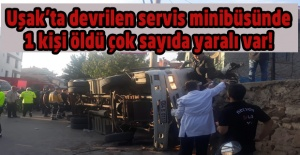 Uşak#039;ta işçi servisi devrildi:...