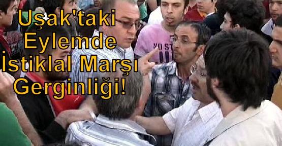 Uşak'taki Eylemde ÖDP'li Üyeler İstiklal Marşı Okunmasına Karşı Çıkınca Gerginlik Yaşandı!